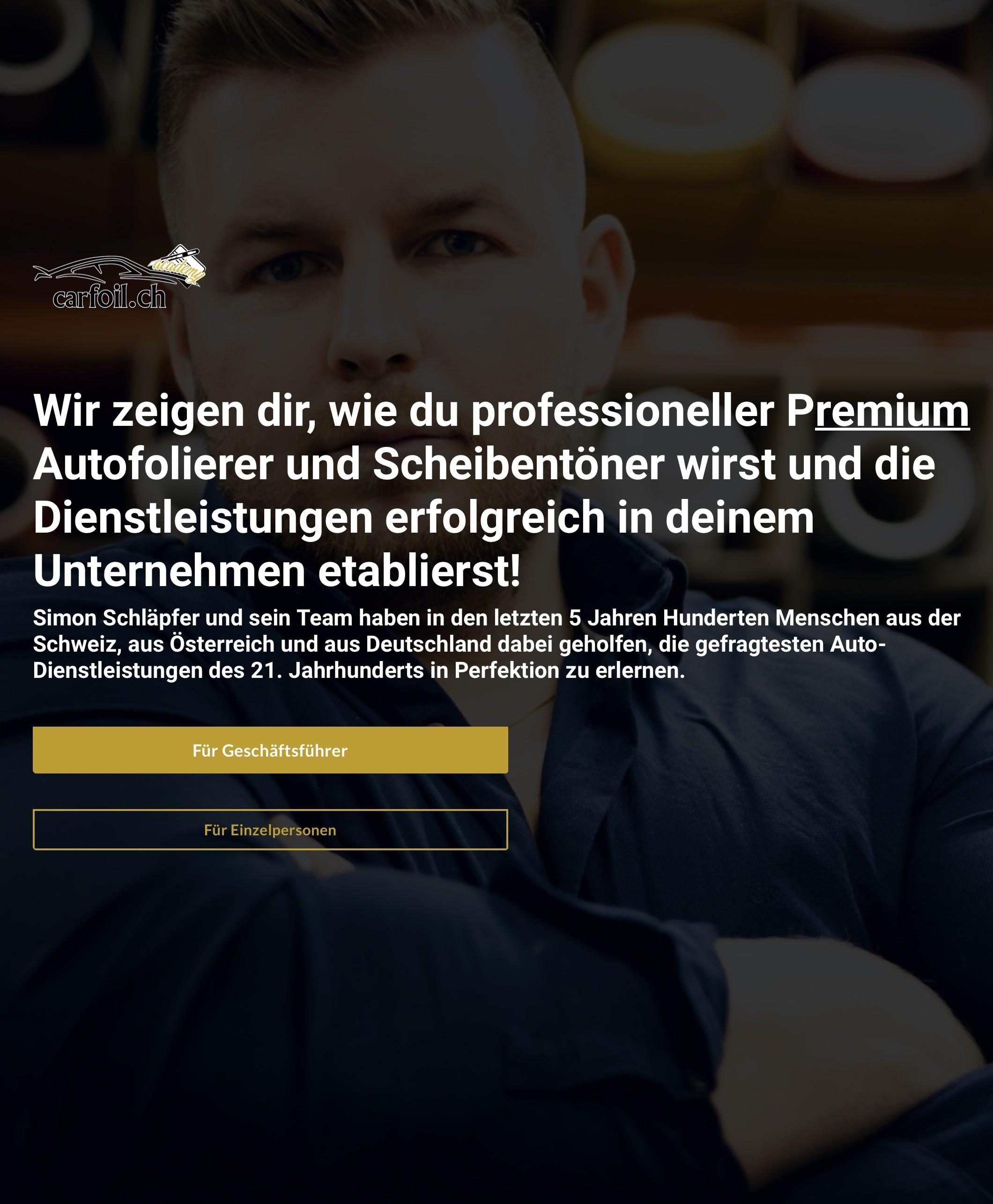 www.carfoil.academy DAS NR. 1 SCHULUNGSZENTRUM FÜR AUTOFOLIERUNGEN, SCHEIBENTÖNUNGEN, LACKSCHUTZ-FOL